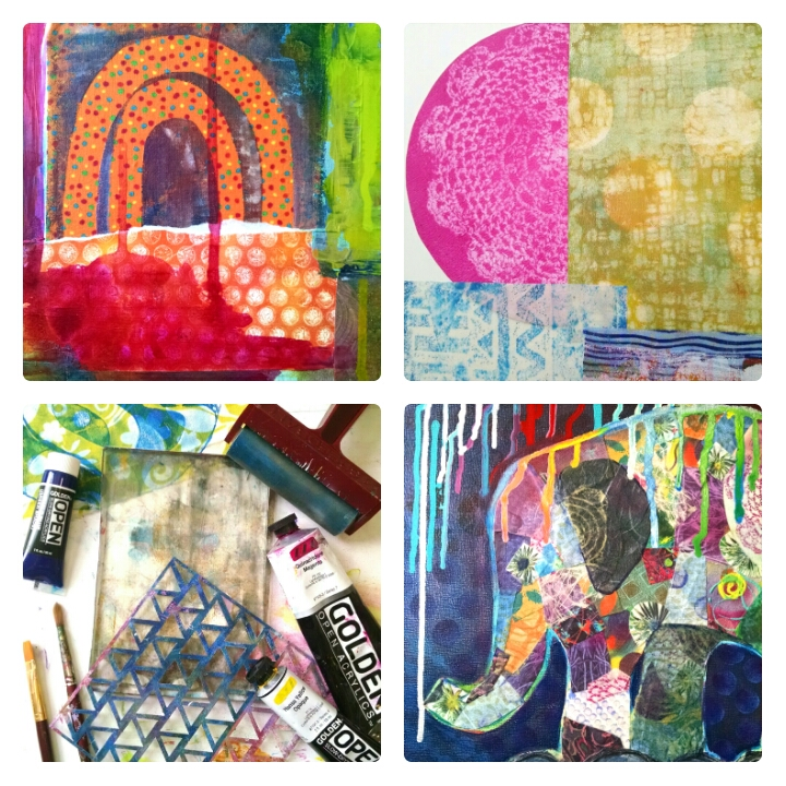 "©Christine Sauer, ""Collage Explorations with Gelli Prints"", Mixed Media Workshop"