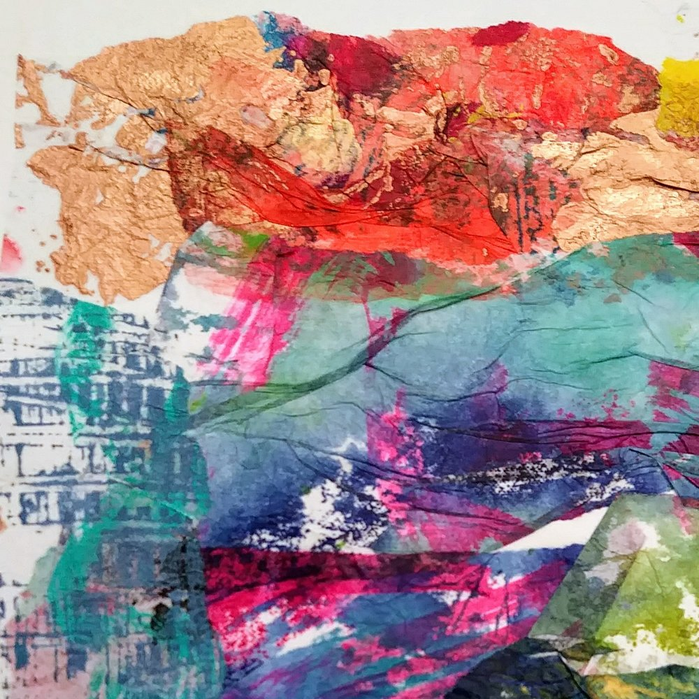 Stained and painted tissue collage
