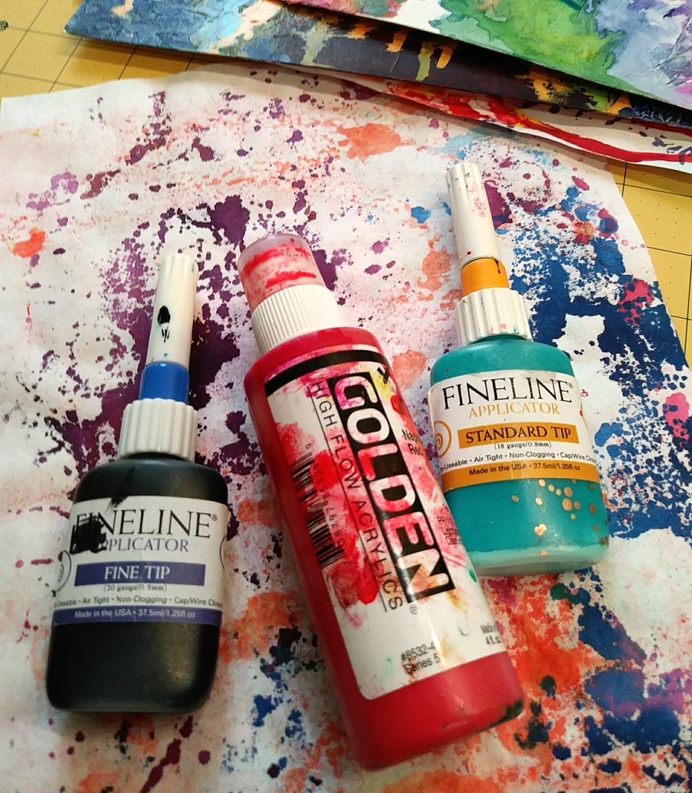 High Flow Acrylics in FineLine Apllicator and with Marker Top