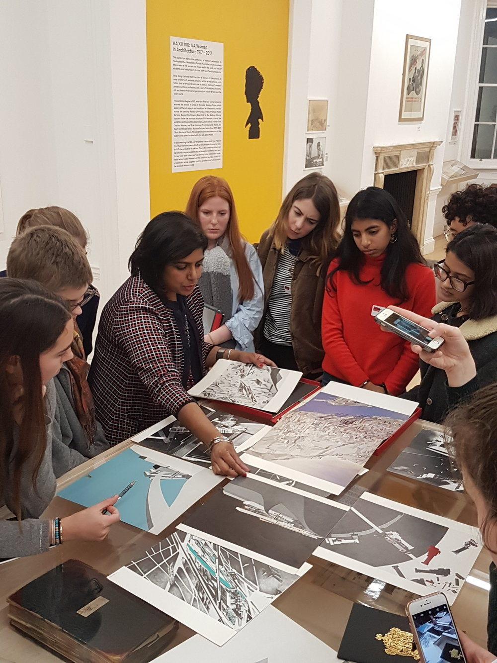 Manijeh Verghese, Head of Lectures & Public Programme Curator at the AA, giving a tour of AA XX 100 exhibition
