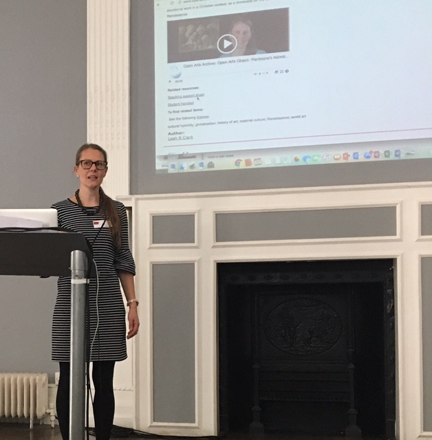 Dr Leah Clarke speaking on the Open University's Open Arts Archive