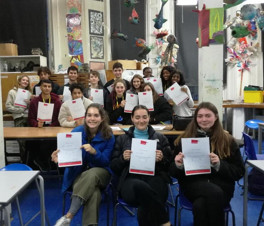 Graveney Sixth Form on completion of their enrichment course, December 2018