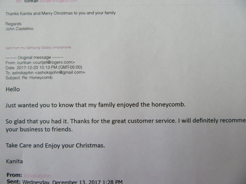 Email received from one of our customer who loves our honeycomb from Adam's