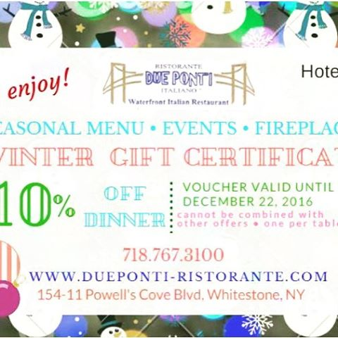 #givingtuesday inspired us to offer a 10% gift card for the month of December! #queens #whitestone @queensdinnerclub @itsinqueens