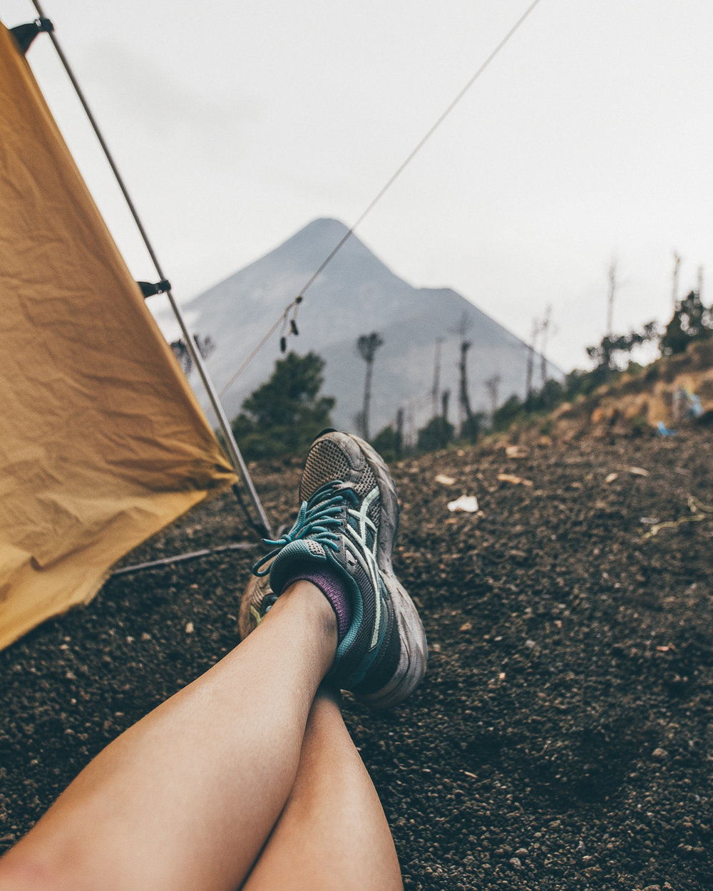Taking in the view of the nearby El Fuego volcano at base camp on Acatenango