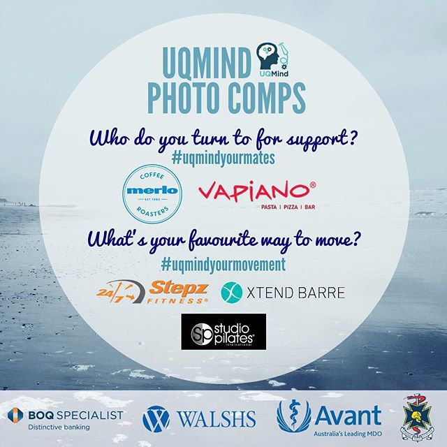 LAST CALL for entries into our two photo comps 📸🏆 #uqmindyourmovement AND #uqmindyourmates ‼️ Both competitions close at MIDNIGHT tonight, so make sure to get your entries in for a chance to win prizes from these AMAZING sponsors: @vapianoaustralia @merlocoffee @stepz_fitness_toowong @xtendbarrestlucia @studio_pilates See our previous posts for further comp details and good luck to everyone 💙💙