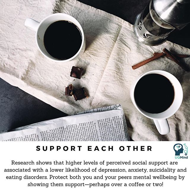 Happy #WellnessWednesday and #WorldMentalHealthDay from UQMind! 😊  One of the best things we can do for our peers is to show them support—whether it's grabbing a coffee with them, going on a walk together, or just talking them through a difficult time! Specifically, research shows that higher perceived quality of social support is strongly associated with a lower likelihood of depression, anxiety, suicidality and eating disorders.  Are you in need of some support, but not sure where or who to turn to? Why not try out @bigfeelsclub? This is a space where you can unpack your feelings in online discussion groups, read articles/listen to podcasts by people who have shared similar experiences to you, and if you're ever in Melbourne, meet-up in real life to talk with others! Check out the link in our bio for more details about this awesome resource!  Always remember to mind your mates, mind your well-being, and mind your mental health. 💙