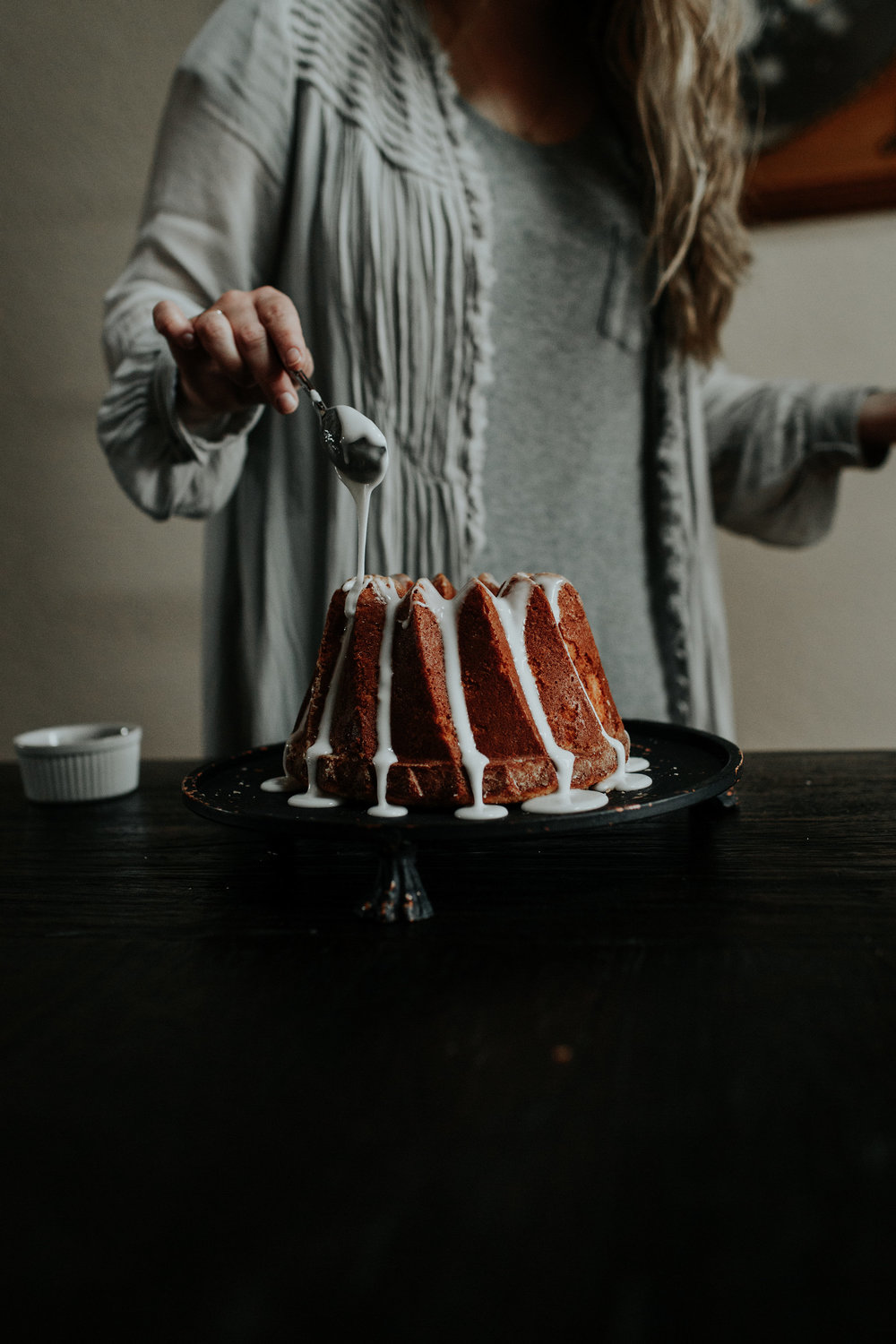 vanilla bean bundt cake + honey whiskey glaze from the kitchen of BTTRCRM