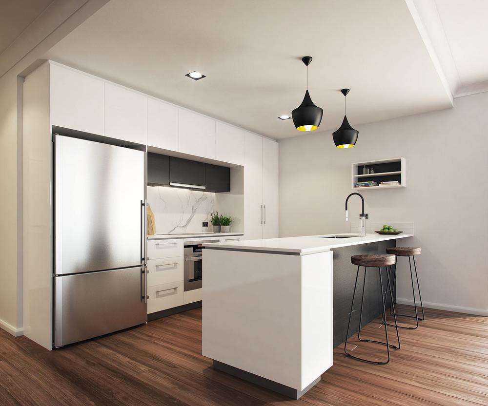 High Street Interior 3D Render Kitchen