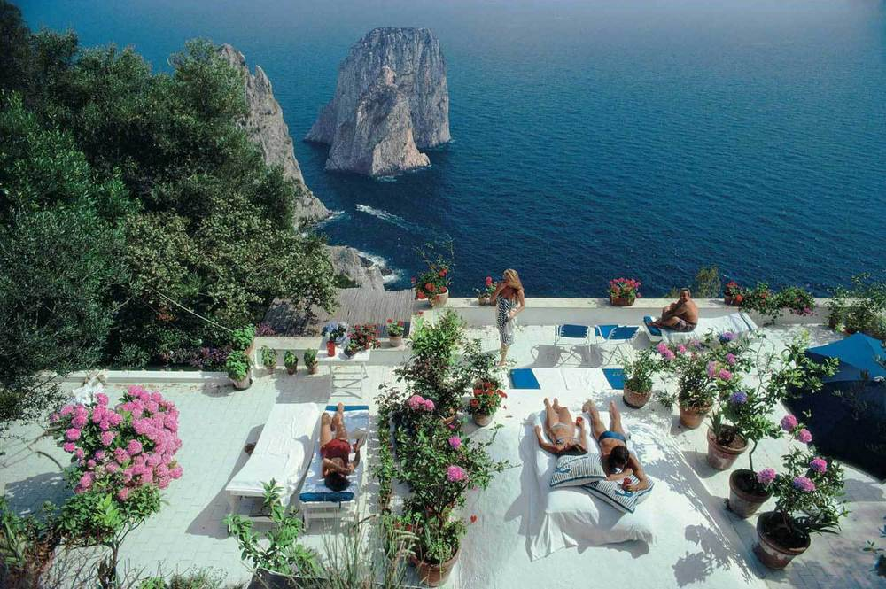 Slim Aarons,  Il Canille, Capri, Italy , 1980