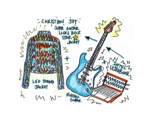 Joy's sketch of a jacket that lights up according to the music