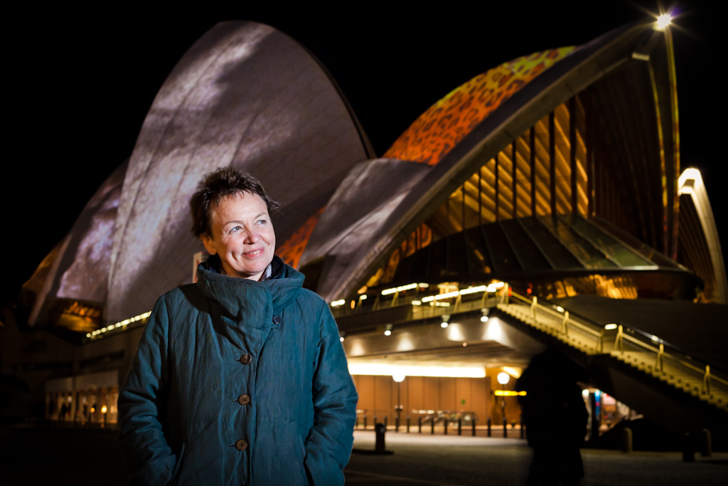 Laurie Anderson in front of Sydney Opera House on a cold winter's night
