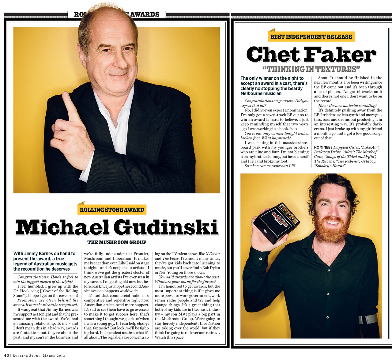 Award Winners Michael Gudinski and Chet Faker