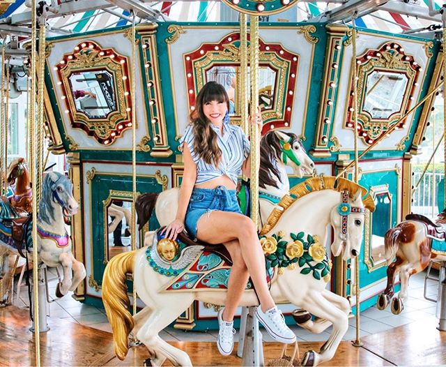 Sunday Funday! @liketoknow.it We went to see the New #JurassicWorld movie and there was this cute carousel outside the theater! Made for another fun day date with @mf042187. It's good to get out of the house for a little when Mark is not completely zonked from the chemo. He's a tough cookie I'll tell y'all. 3 more to go! Did anyone else see the movie yet?! Thoughts? {Outfit details via the link in my bio or by following me in the #liketkit app} http://liketk.it/2wmoK • • • • #ltkunder50 #bloomiesorlando #orlandoblogger #allthingscharming #summerstyle #southernbelle #ootd #wiw #disneyprincess #fashionaddict #daydate #dailylook #sundayfunday #movietime #denimskirt #feelbeautiful #summergoalsz #lookoftheday #fashiondaily #outfitinspo #positivevibes #weekendmode