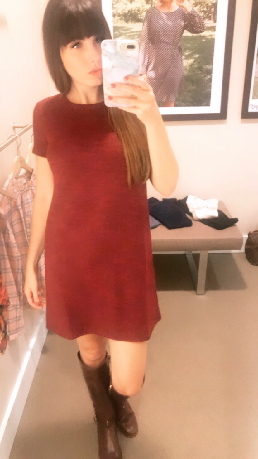 loft red dress thanksgiving outfit.JPG