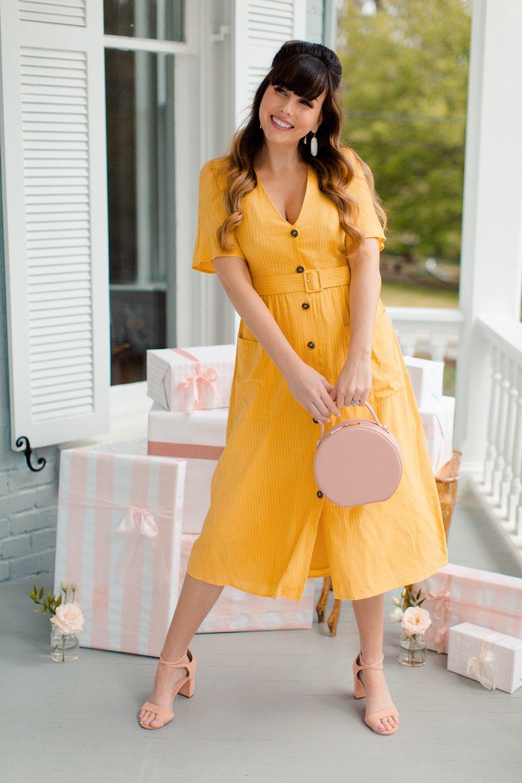 sophisticated vintage yellow dress.JPG