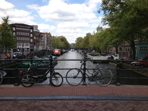 Bicycles and canals in Amsterdam