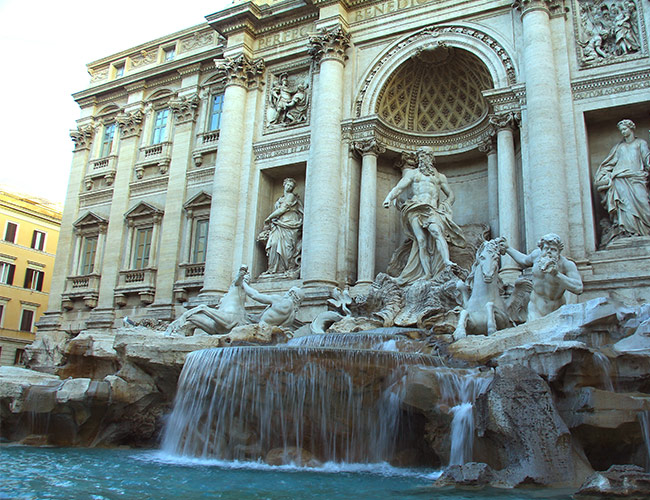 The Trevi Fountain in the early morning