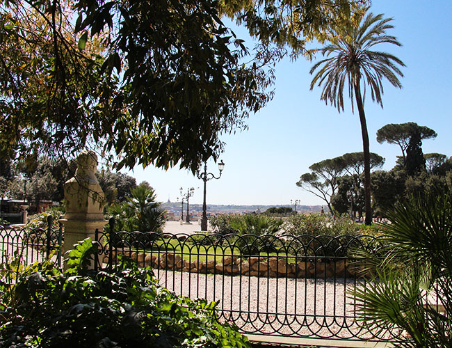The gardens of the Villa Borgese in Rome, Italy