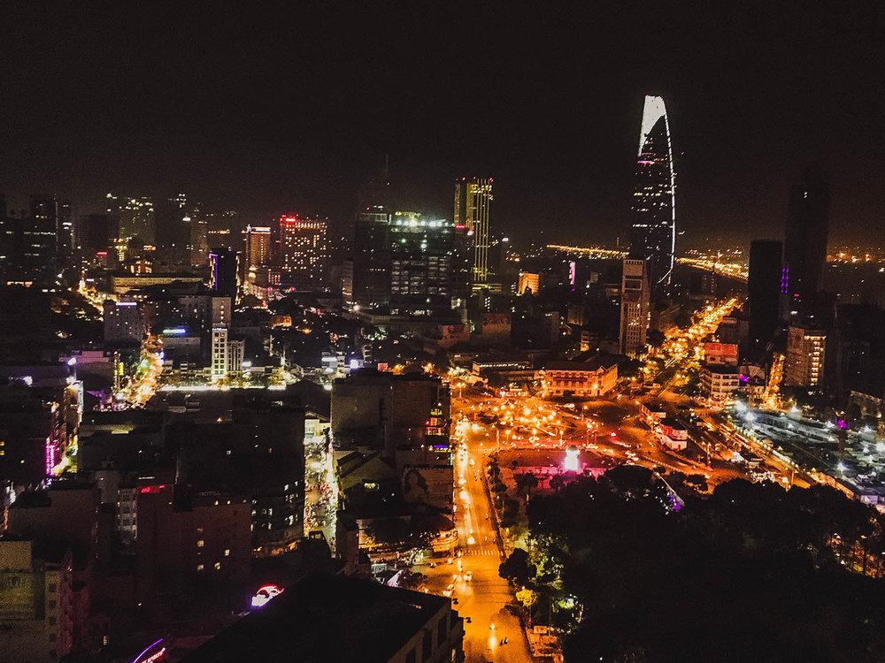 Ho Chi Minh City at night.