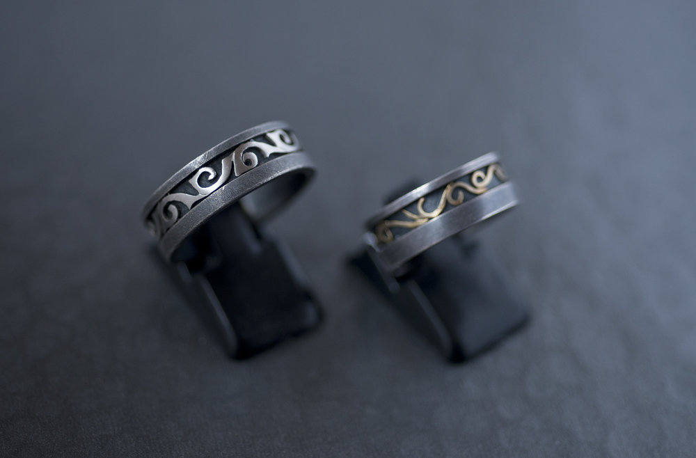 rings in sterling silver + palladium / sterling silver + 18k yellow gold, by Alishan Halebian
