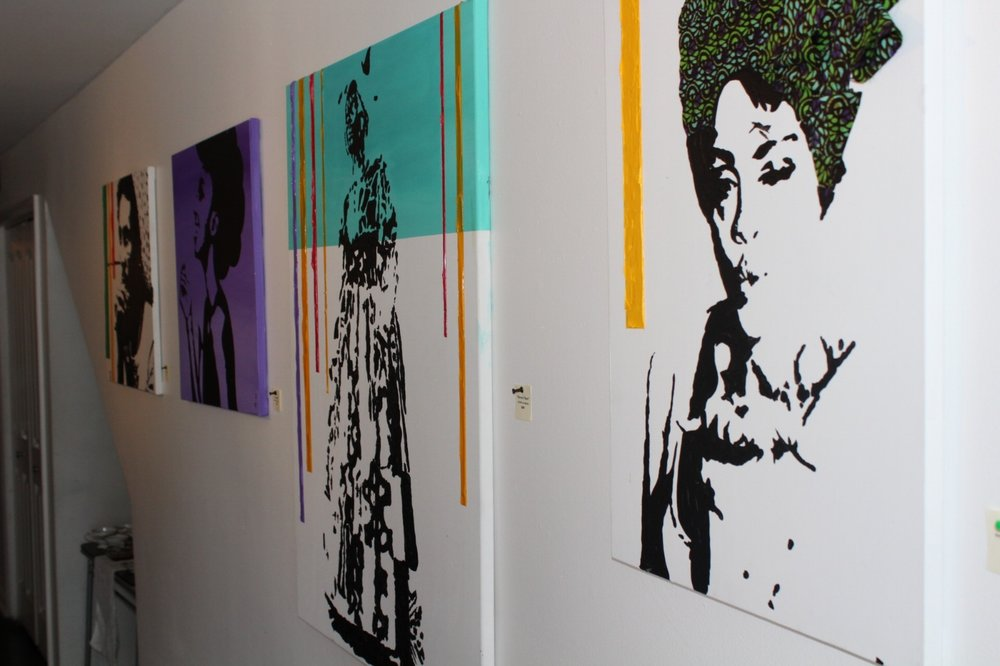 "Beautiful exhibit ""Tribe"" by  Erice Reid  adorned the walls of the Urban Art Gallery for the viewing pleasure of our guests."