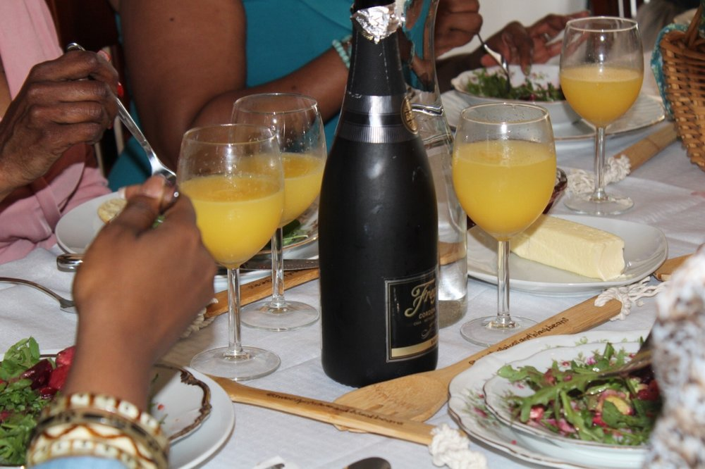 Along with an assortment of teas and coffee, guests were able to byob creating mimosas alongside their plates.