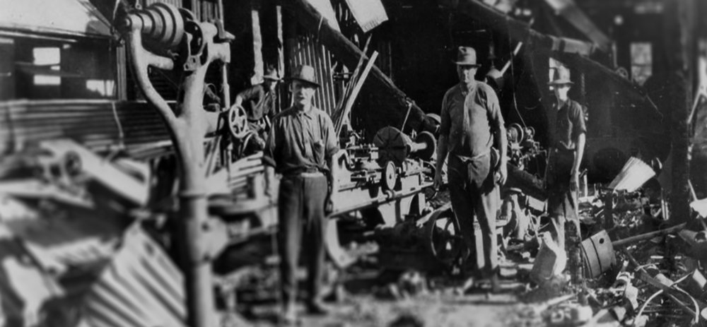 The brothers after their distillery burned to the ground. *
