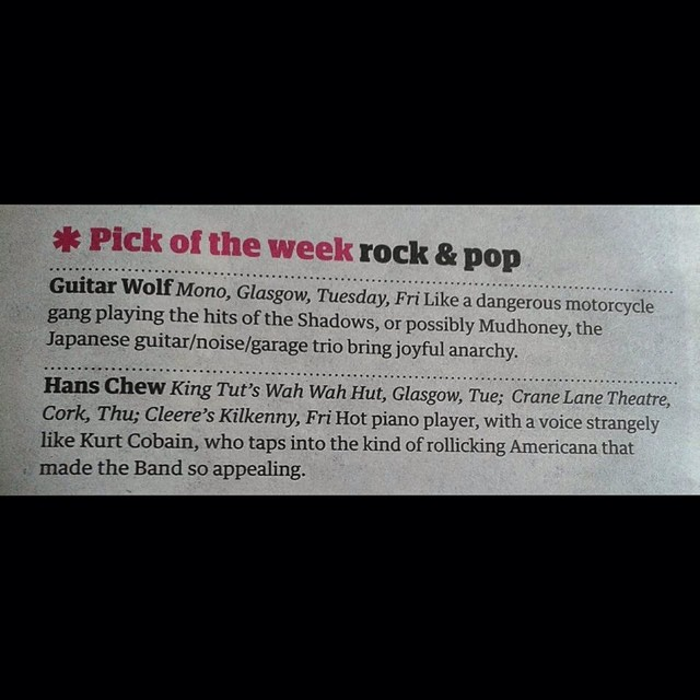 .@Guardian says go: Tues Glasgow @kingtuts, Thurs Cork @cranelane, Fri Kilkenny @cleereskilkenny  http://ift.tt/1ru5jE0