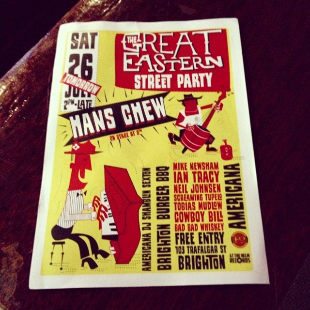 FREE street party tonight in Brighton! We headline at 8pm, at The Great Eastern #TrafalgarStreet  http://ift.tt/1tMSNko