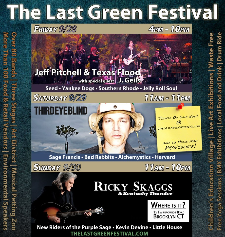For all you CT-based music lovers, we're gonna be rockin' and rollin' before Ricky Skaggs at the @lastgreenfest on Sunday, September 30th in Brooklyn, CT…come on, come all!!!