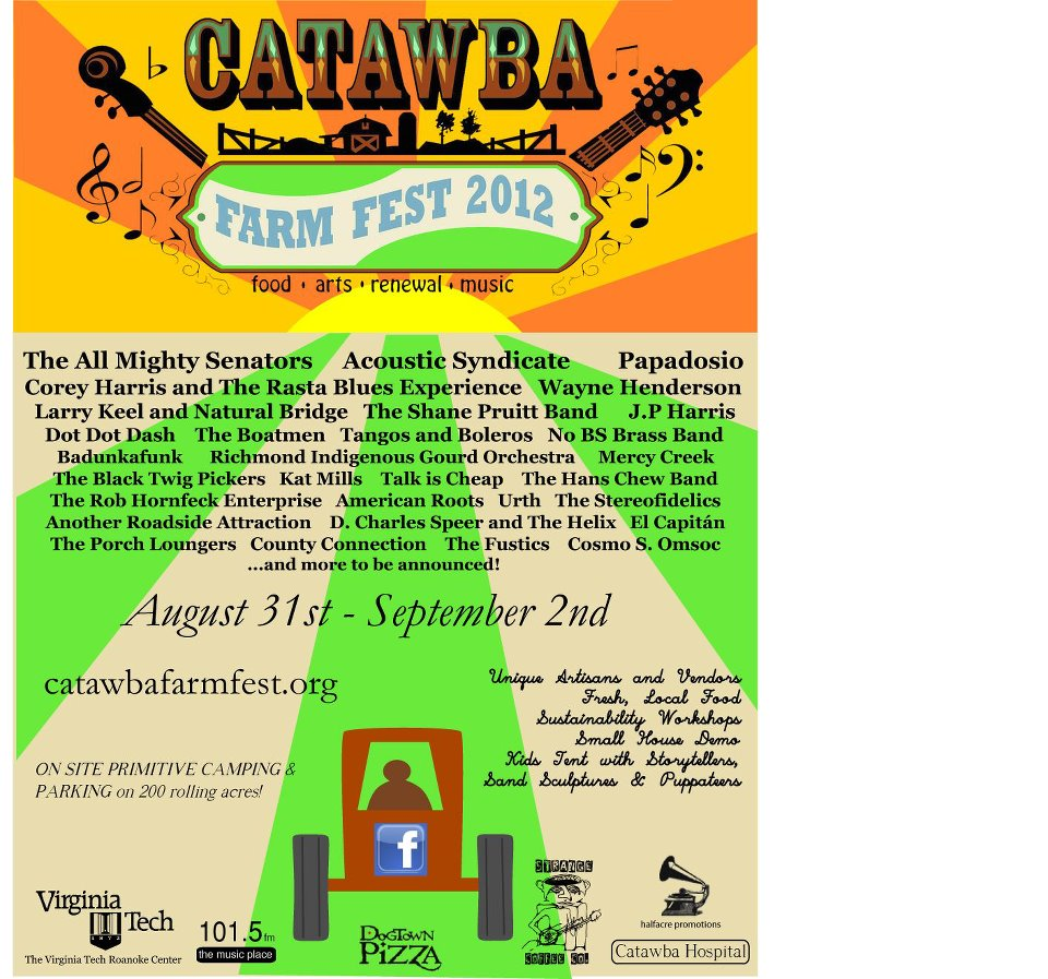 We're excited to be playing the  2012 Catawba Farm Festival  with  D. Charles Speer & The Helix  and  The Black Twig Pickers  plus many more!   The event is a three day music and arts festival over Labor Day weekend, featuring great music and great locally grown foods and goods!   Hans Chew & The Boys will play on Saturday, September 1st at 4pm.   Come on out for some fun in the beautiful Catawba Valley…   http://     www.catawbafarmfest.org/