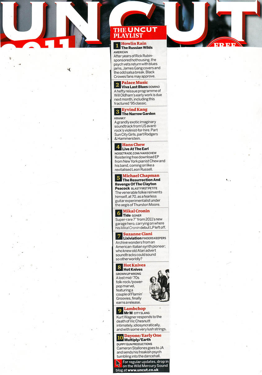 "More press and praise from the lovely folks at  Uncut magazine in the UK , which is available on newsstands now in their Feb. 2012 issue.   This time it's for the live EP we released on Noisetrade.com, which is available for free download  by clicking here , entitled ""Hans Chew & The Boys: Live at The Earl, Atlanta, GA, February 23rd, 2011"".  It's a few songs from a show we played while on our first US tour last year…hope you'll download and enjoy!!!"