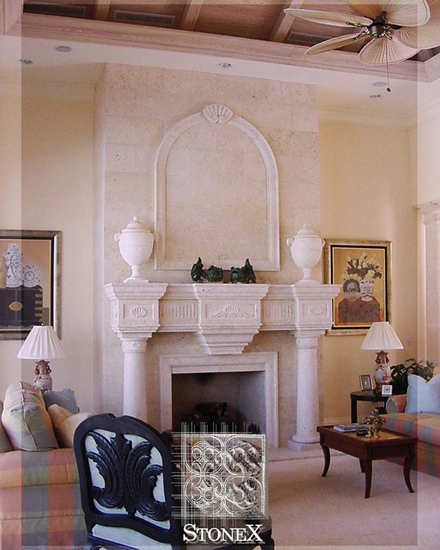 Summer is over! Take a look to our fireplaces and get ready for the winter season. One of our projects in California #fireplace #interiordesign #interiorism #projects #californiaarchitects #California #californiaproject #elegance #luxuryliving #peace #style #archilovers #archdaily #architecture #construction #residential #livingroom #classic #naturalstone #naturalstonefireplace #quality #canterastone #limestone #marble #shellstone