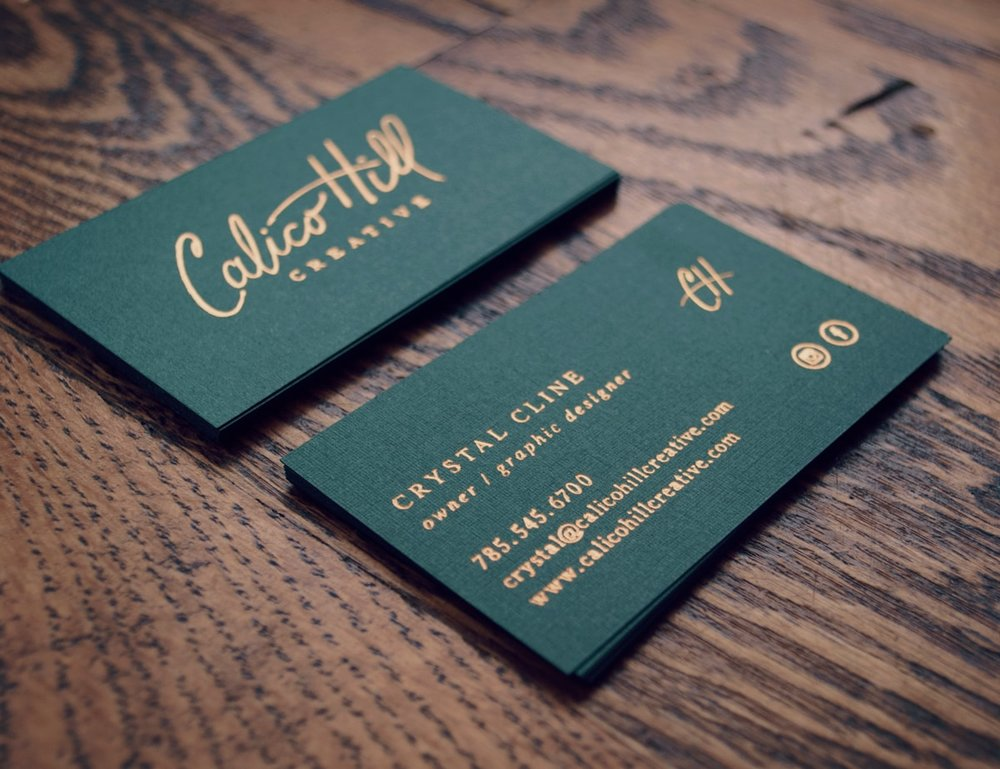 My business cards - which are copper foil-stamped onto a jade green linen paper - tell potential clients a completely different story about myself and my brand than if I had gone with a simple white piece of paper with digital printing.