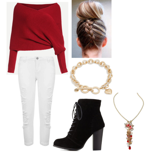 Off Shoulder Sweater Christmas Party Outfit