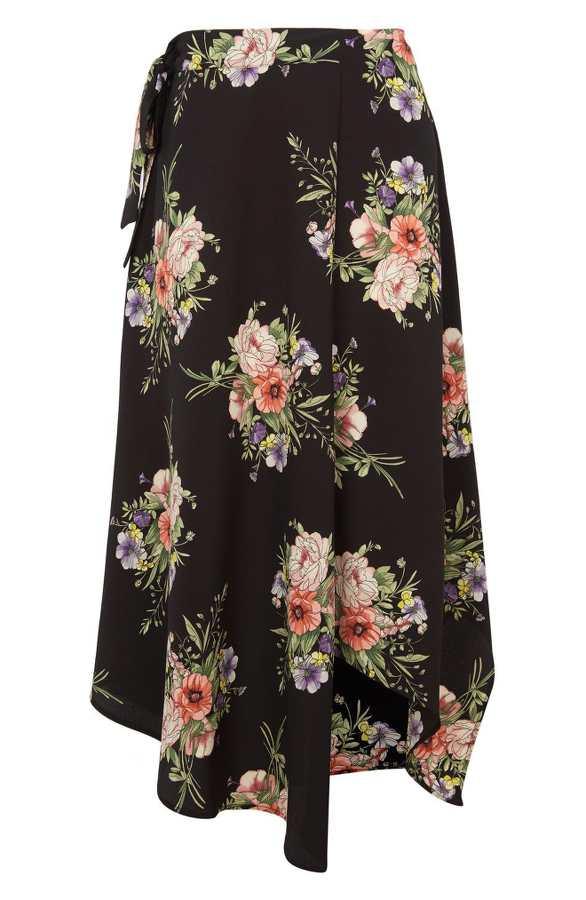 Black Floral Wrap Skirt