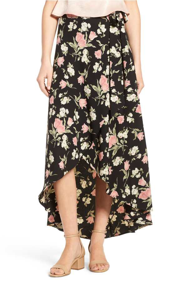 High Low Floral Skirt