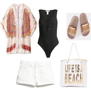 Beach, Please - - Great for a beach cover-up- Light weight- Makes you look classy and polished- Not too hot or overbearing of outfitKimono- click hereBodysuit- click hereShorts- click hereSandals- click hereBag- click here