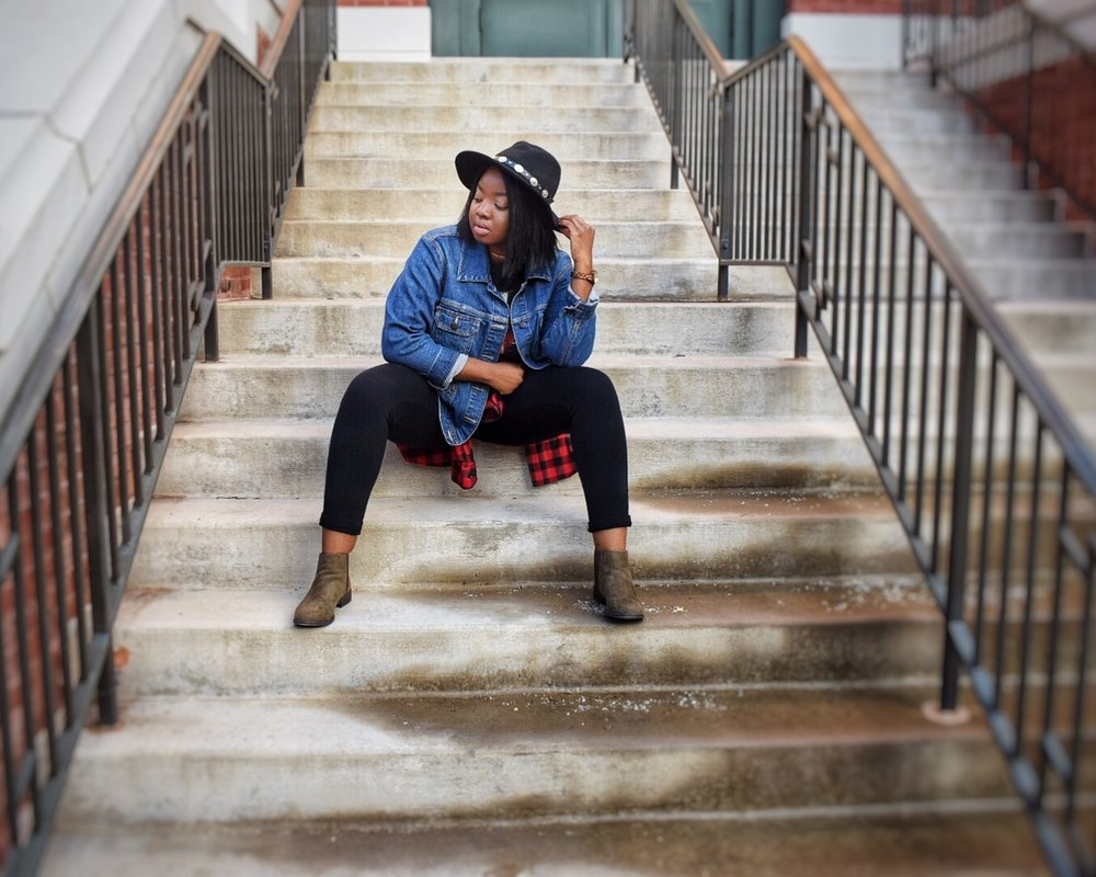 Denim Jacket (similar)-  click here  OR  click here  //  Flannel  //  Jeggings  //  Booties (colors and sizes limited)  // Wide Brim Hat (similar)-  click here