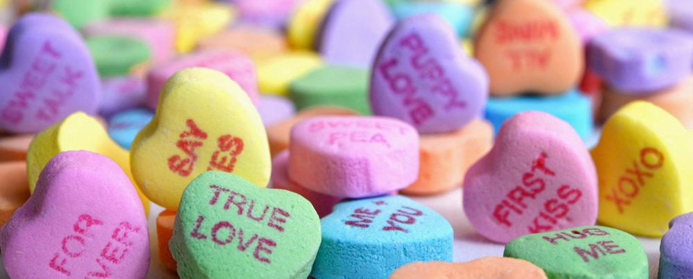 Colorful array of Valentine's Day Sweet Hearts Candy