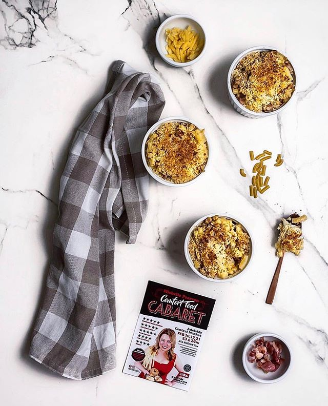 Last night, @adelaidefoodcentral cooked up @michellepearsonmusic's Ultimate Mac 'n' Cheese from her upcoming season of Comfort Food Cabaret at the @adlfringe. How incredible does this look?! We can't wait to taste the full menu at her show which opens this Saturday at the Adelaide Central Markets.  #LittlelionPR #AdelaidePR #ADLFringe #ComfortFoodCabaret #MichellePearson #AdelaideFoodCentral