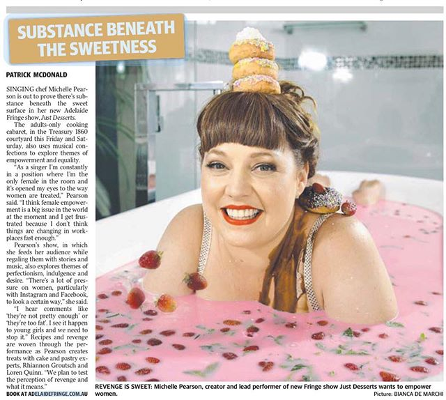 How sweet is this?! Thank you to @thetiser for the wonderful write up on @michellepearsonmusic new show, Just Desserts at the 2019 @adlfringe .  There are limited tickets left and only two more shows to go so don't miss out! Secure your tickets today at adelaidefringe.com.au.  #littlelionpr #adelaidepr #fringepr #justdesserts #michellepearsonmusic #adlfringe