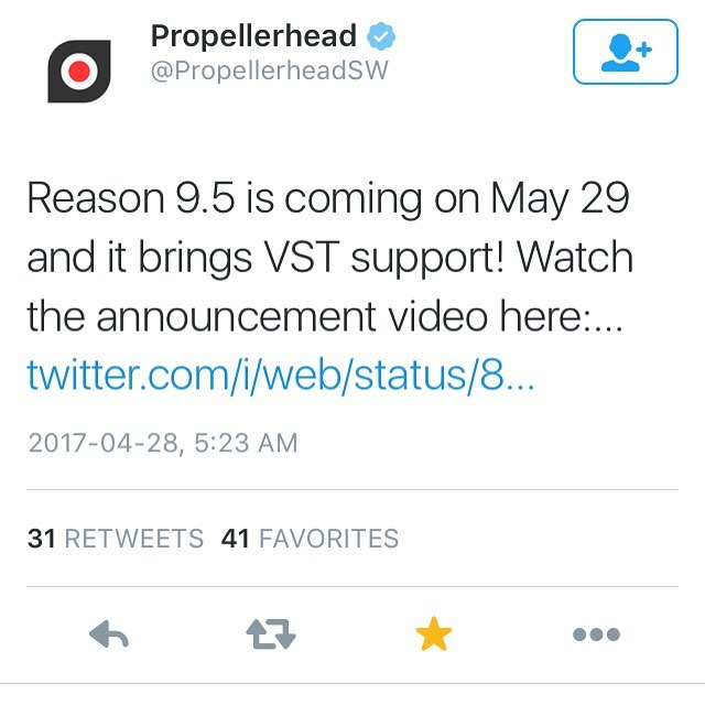 Woke up with the biggest nerdboner this morning. This is huge for the Reason community. Excited af! Thank you @propellerheadsw