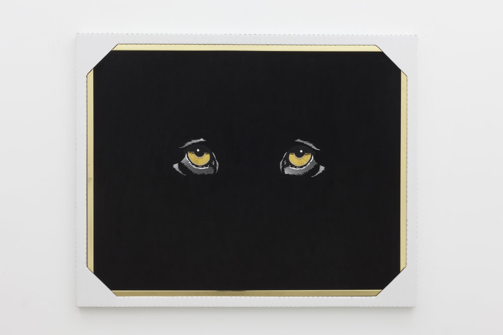 We Shall Meet in the Place Where There is no Darkness (Jaguar),  2016  Bronze, Black Cotton Velveteen, Mouliné Stranded Cotton, Corrugated Cardboard Frame  56.25 x 70.25 in  Photo: Tara J Graves
