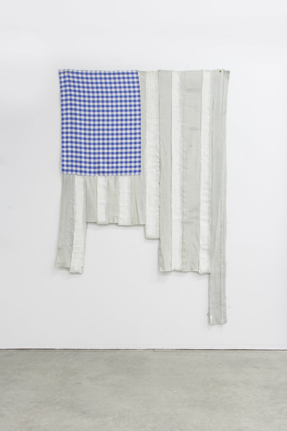 Don't Let My Glad Expression Give You The Wrong Impression (After Jasper Johns), 2015  Dutch Boy House Paint, on Pendleton Wool Selvage, Gingham Table Cloth  108 x 78 in  Photo: Jenna Gard