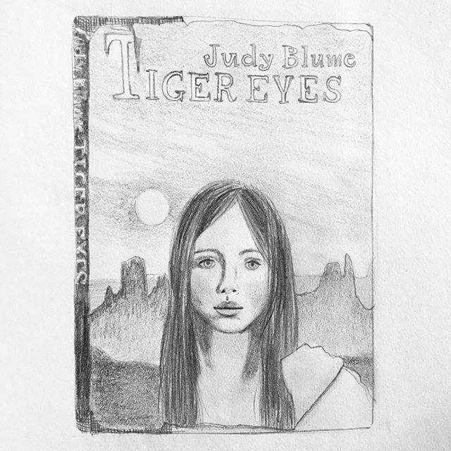 Happy #BookLoversDay! 📚 Thought I would celebrate by sketching the book I have loved the very most, Tiger Eyes by @JudyBlume. What's your favorite book? I need to grow my library! 📚
