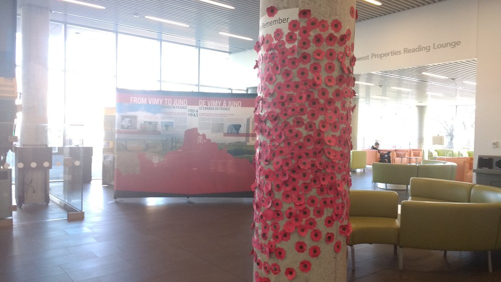 Poppies in the library