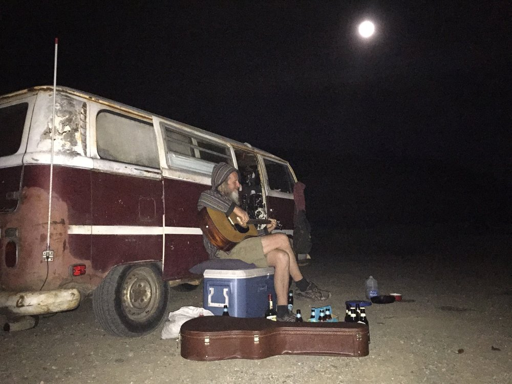 I met Steve (above) when my eyes were getting very heavy on Route 1, California. There's nothing a conversation under a full moon, a beer, and a guitar can't help with!