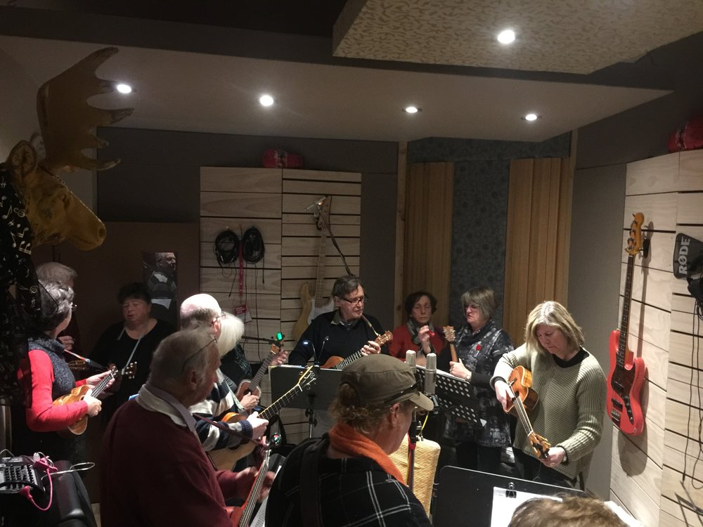 June 2018 - It was a tight fit, but all the member of TUG (the Taralga Ukulele Group) gathered around the microphones on a cold winter weekend to record 14 songs ranging from The Hanging Tree to Folsom Prison Blues to capture the vibe of their popular live performances...